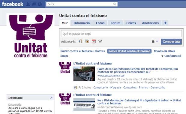 Tanquen la pàgina a Facebook d'Unitat contra el feixisme