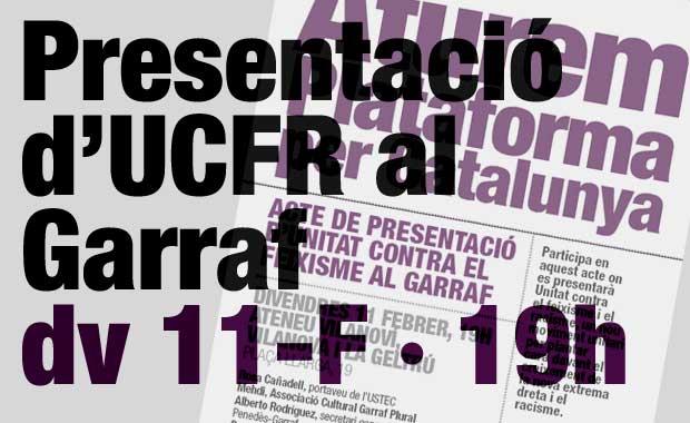 Acte de presentació d'Unitat contra el feixisme i el racisme al Garraf