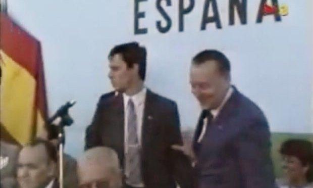 Anglada amb Blas Piñar al Valle de los Caídos, celebrant l'aniversari del cop d'Estat de Franco
