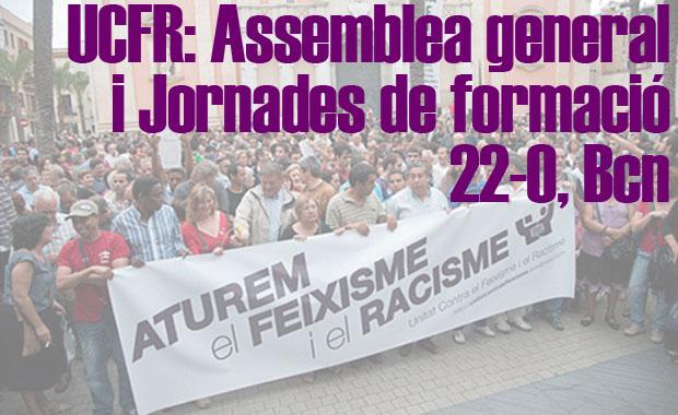 Dissabte 22 d'octubre: Assemblea General i Jornades de formació d'UCFR