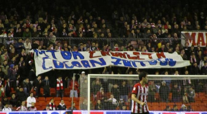 Contra la manifestació feixista del 25 de maig, durant el partit Barça-Athletic de Bilbao