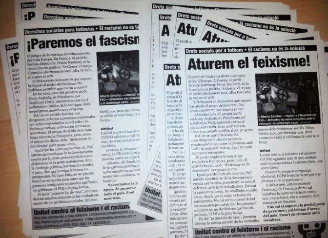 """Octaveta d'UCFR, octubre de 2012: """"Aturem el feixisme"""""""