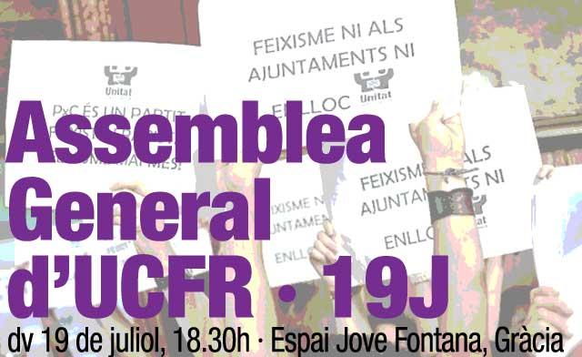 Assemblea General d'UCFR · dv 19 de juliol, 18,30, Gràcia