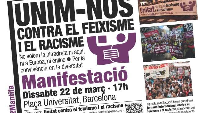 Manifestació · Unim-nos contra el feixisme i el racisme! · 22-M