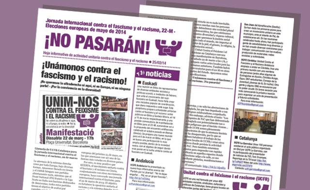 Hoja informativa de actividad unitaria contra el fascismo y el racismo · 25/02/14