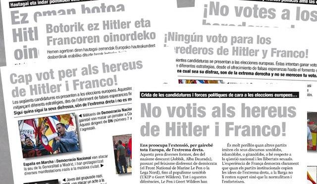 17-M: Difusió massiva de material contra les candidatures d'extrema dreta