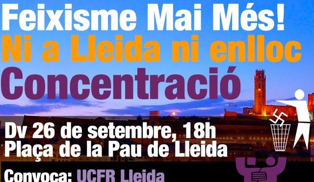 Comunicat d'UCFR Lleida davant l'agressió racista i feixista de dilluns 22 de setembre a la ciutat de Lleida