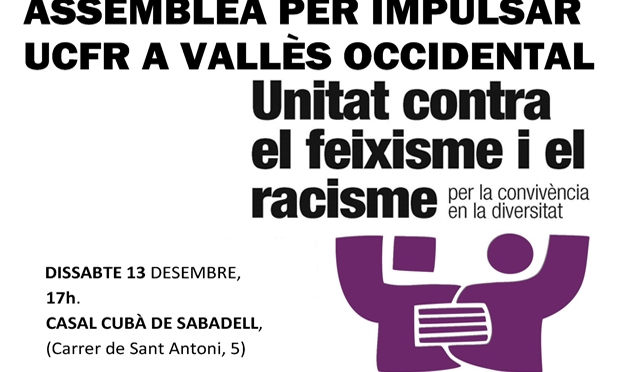 Assemblea per impulsar UCFR a Vallès Occidental, ds 13-D, 17h