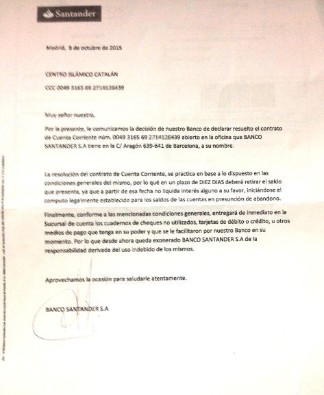 Carta Santander CCIC