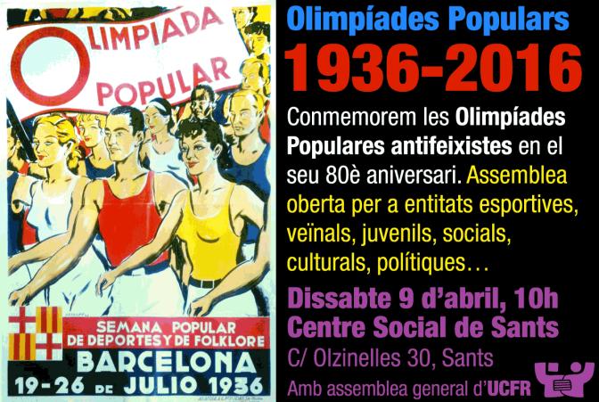 Ds 9A: Assemblea UCFR · 80e aniversari Olimpíades Populars