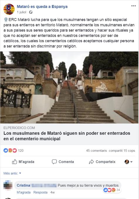 """PxC utilitza el grup de Facebook de """"Mataró es Queda a Espanya"""" per promoure l'odi vers el veïnat musulmà."""