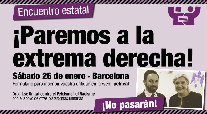 Encuentro estatal · #ParemosaVOX · 26 de enero · Barcelona