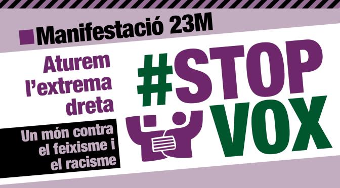 Manifestació #23MStopVox · Adheriu-vos-hi